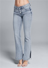 Front View Slit Detail Bootcut Jeans