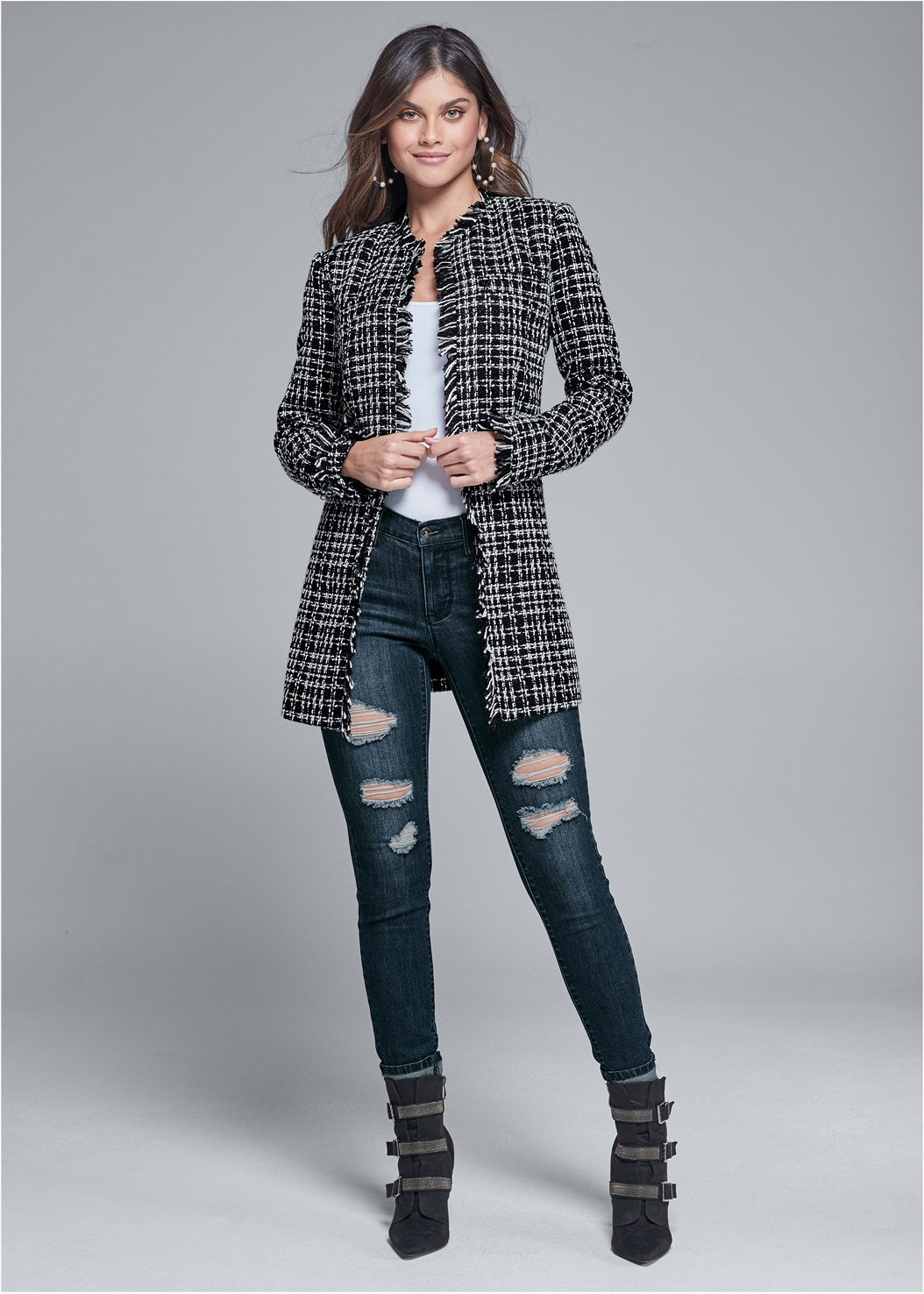 Open Front Tweed Fringe Jacket,Basic Cami Two Pack,Ripped Bum Lifter Jeans,Buckle Detail Booties,Fringe Scarf,Faux Feather Handbag,Lace Detail Bootie