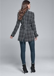 Full back view Open Front Tweed Fringe Jacket