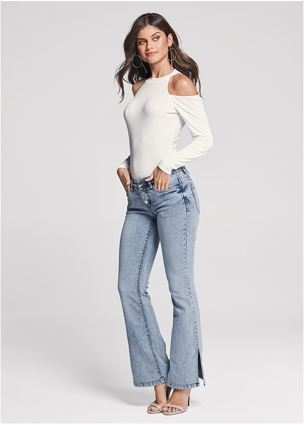 Slit Detail Bootcut Jeans,Ribbed Long Sleeve Top,Ankle Strap Heels,Hoop Detail Earrings