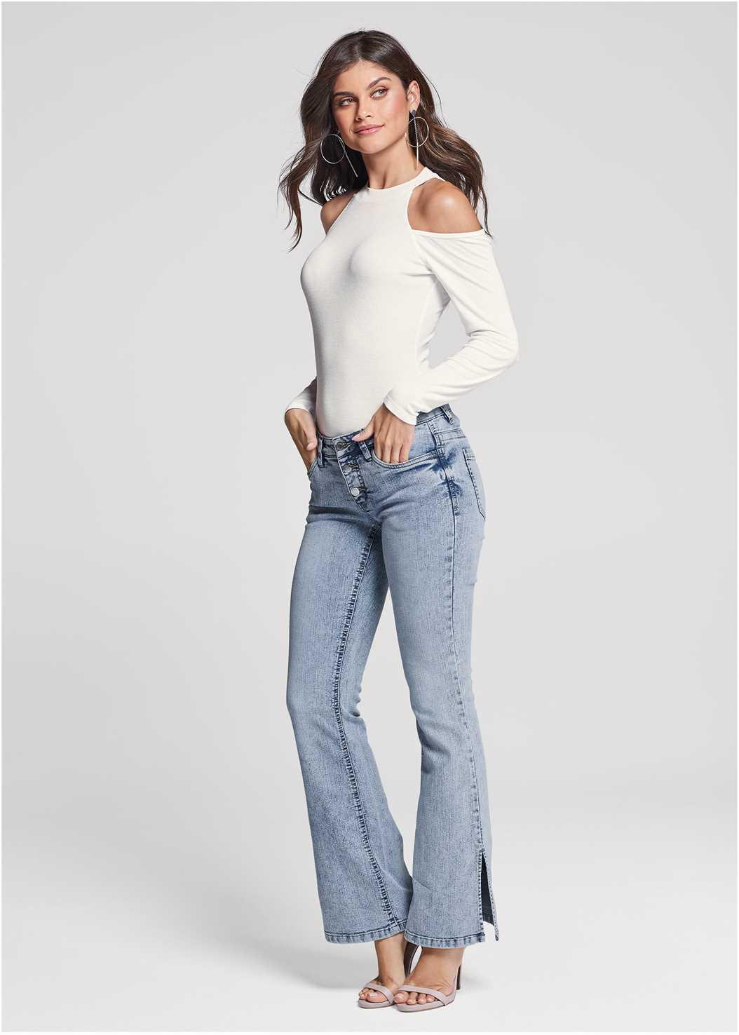 Slit Detail Bootcut Jeans,Ribbed Long Sleeve Top,Ankle Strap Heels,Embellished Tassel Earrings,Macrame Handbag