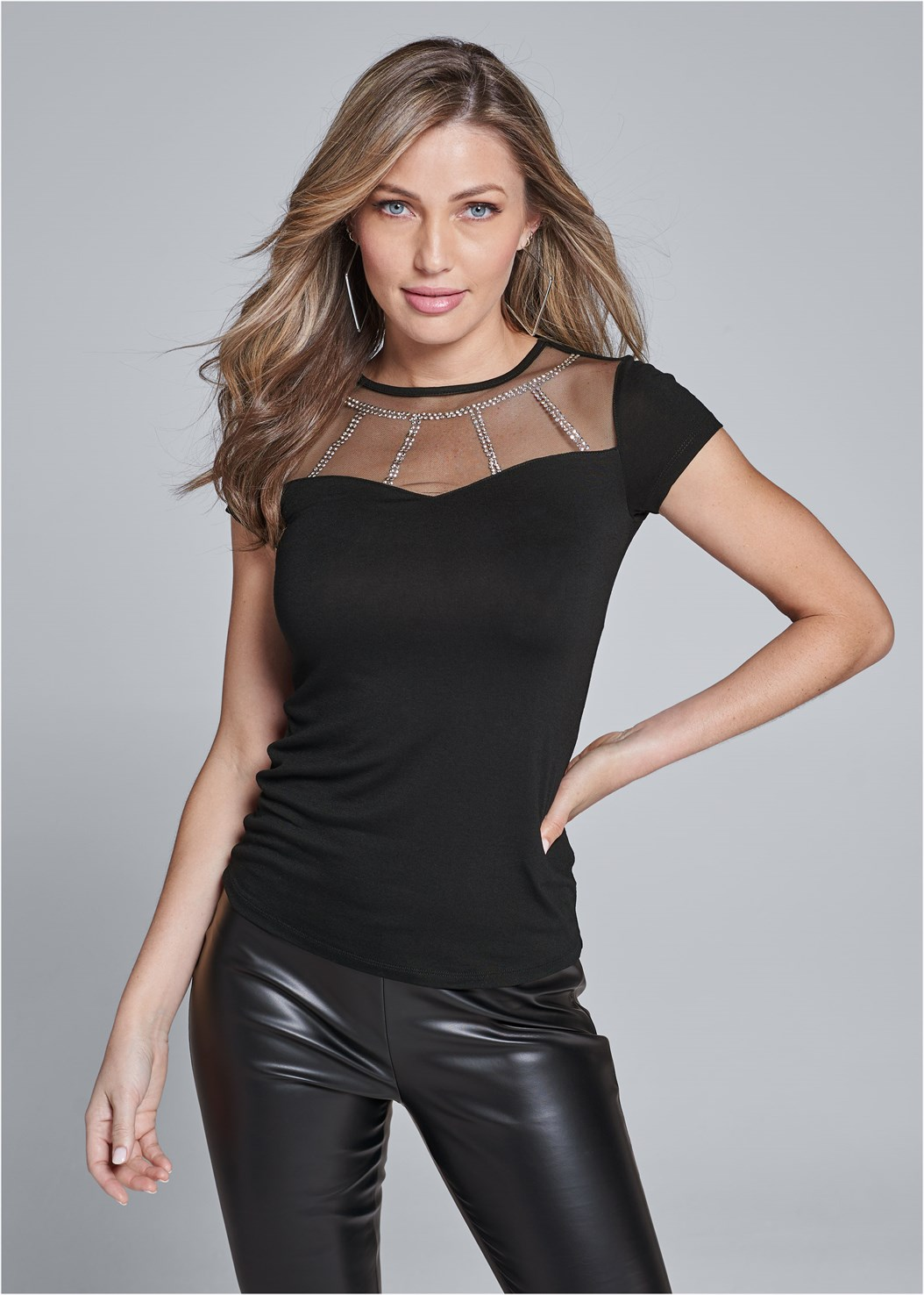 Mesh Detail Top,Faux Leather Leggings,Kissable Convertible Bra,Ankle Strap Heels,Square Hoop Earrings