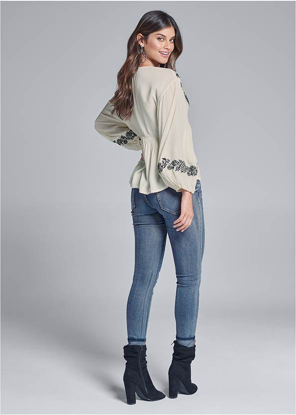 Back View Embroidered Peasant Top