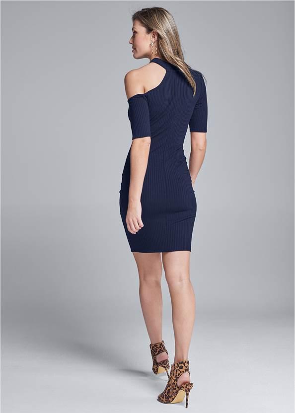 Back View One Shoulder Ribbed Dress