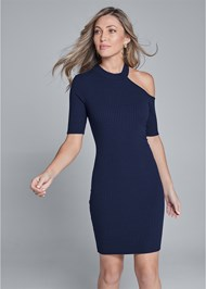 Front View One Shoulder Ribbed Dress