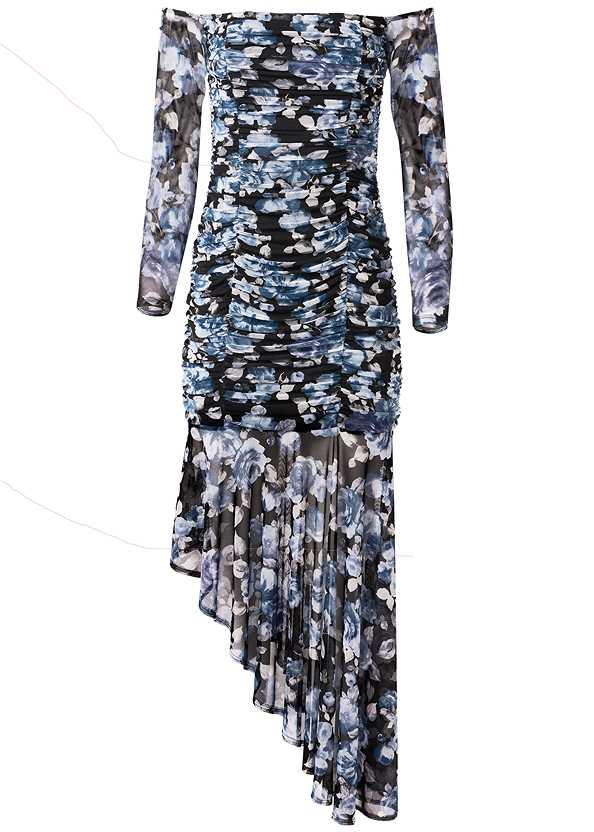 Off Shoulder Floral Dress,Ankle Strap Heels,Rhinestone Statement Clutch