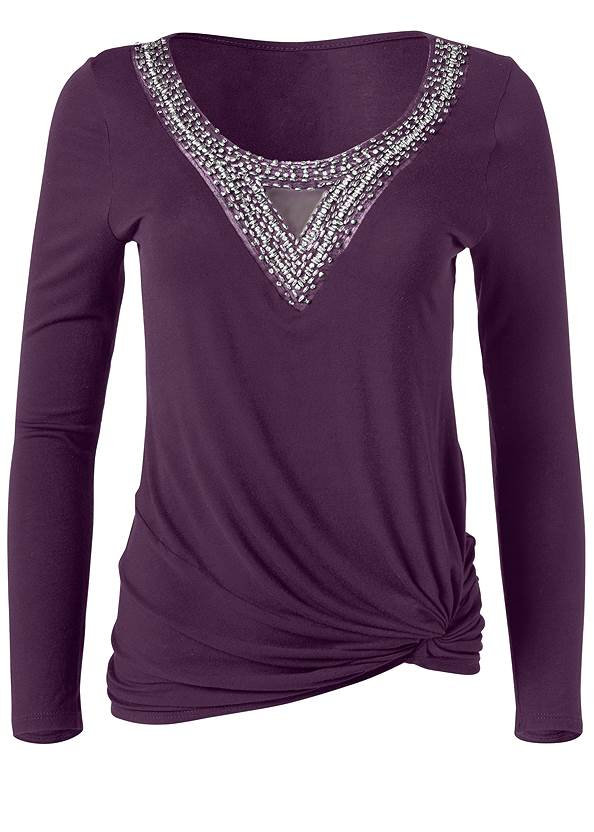 Ghost with background  view Embellished Knot Detail Top