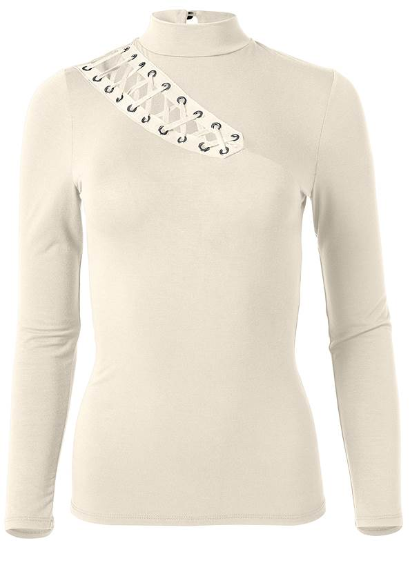 Ghost with background  view Grommet Mock Neck Top