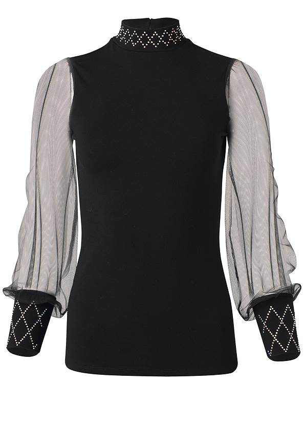 Ghost with background  view Embellished Mock Neck Top