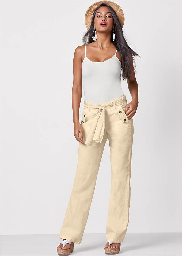 Linen Belted Pants,Basic Cami Two Pack
