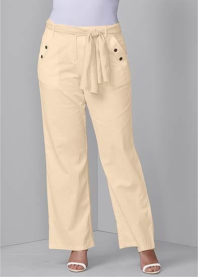 Plus Size Linen Belted Pants