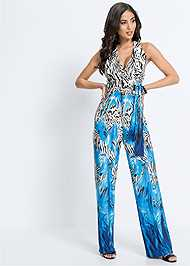 Full front view Mixed Print Halter Jumpsuit