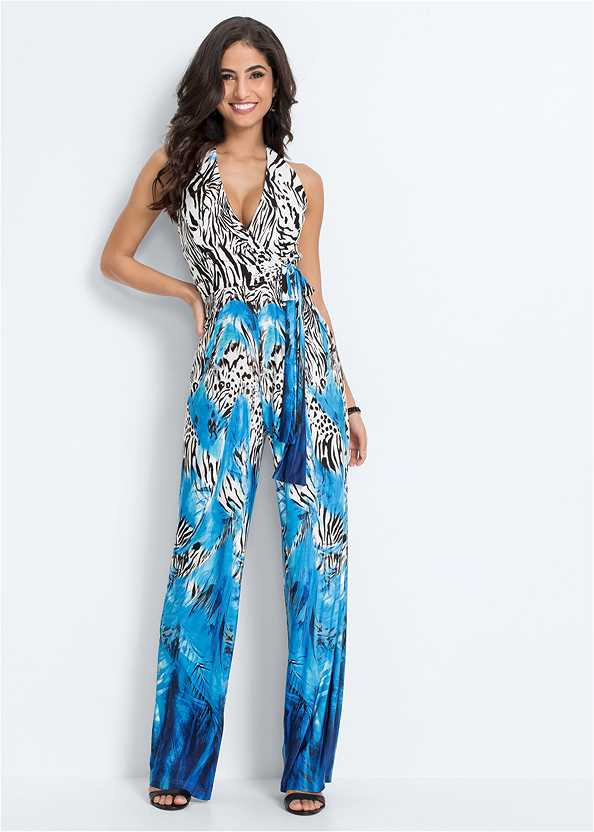 Mixed Print Halter Jumpsuit,Strappy Detail Push Up Bra,Ankle Strap Heels