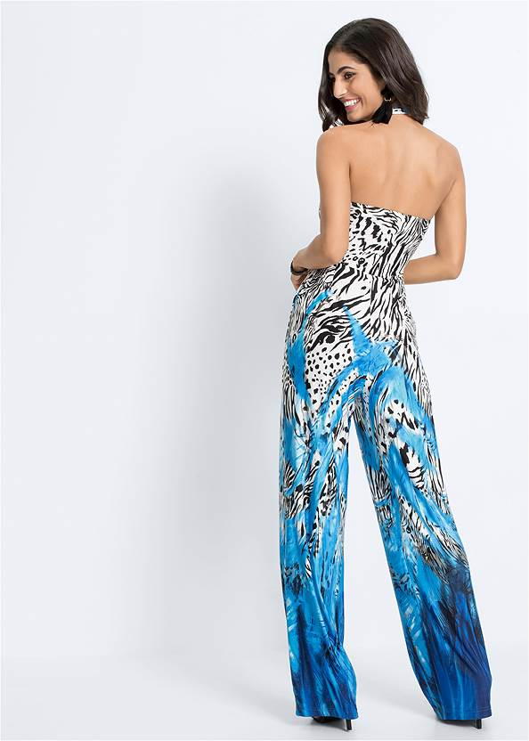 Full back view Mixed Print Halter Jumpsuit