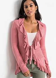 Cropped front view Ruffle Tie Front Cardigan