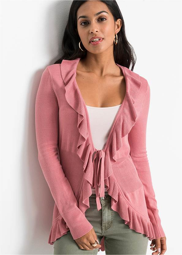 Ruffle Tie Front Cardigan,Basic Cami Two Pack,Casual Bootcut Jeans,Pleated Tote Bag