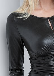 Alternate View Faux Leather Ruched Top