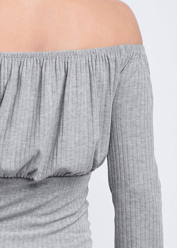 Alternate View Off-The-Shoulder Ribbed Top