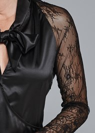 Detail front view Lace Sleeve Tie Neck Blouse