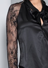Alternate View Lace Sleeve Tie Neck Blouse