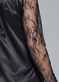 Detail back view Lace Sleeve Tie Neck Blouse