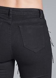 Alternate View Sequin Fringe Skinny Jeans