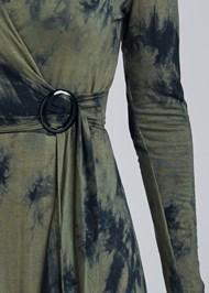 Detail front view Faux Wrap Tie Dye Dress