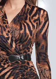 Detail front view Animal Print Ruched Dress