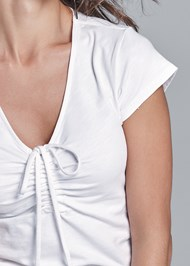 Detail front view Ruched Casual Top
