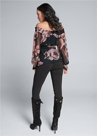 Full back view Ruched Floral Mesh Top