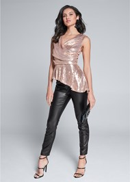 Alternate View Sequin Peplum Top