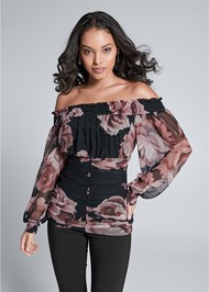 Front View Ruched Floral Mesh Top