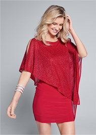 Front View Cold Shoulder Overlay Dress