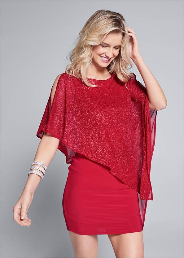 Cold Shoulder Overlay Dress