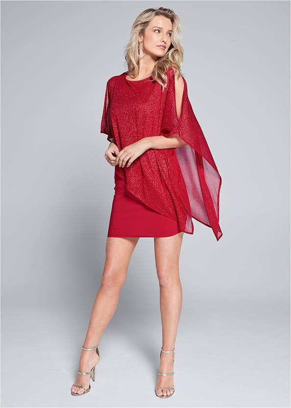 Alternate View Cold Shoulder Overlay Dress