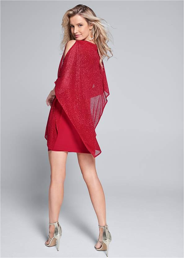 Back View Cold Shoulder Overlay Dress
