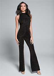 Front View Shimmer Jumpsuit