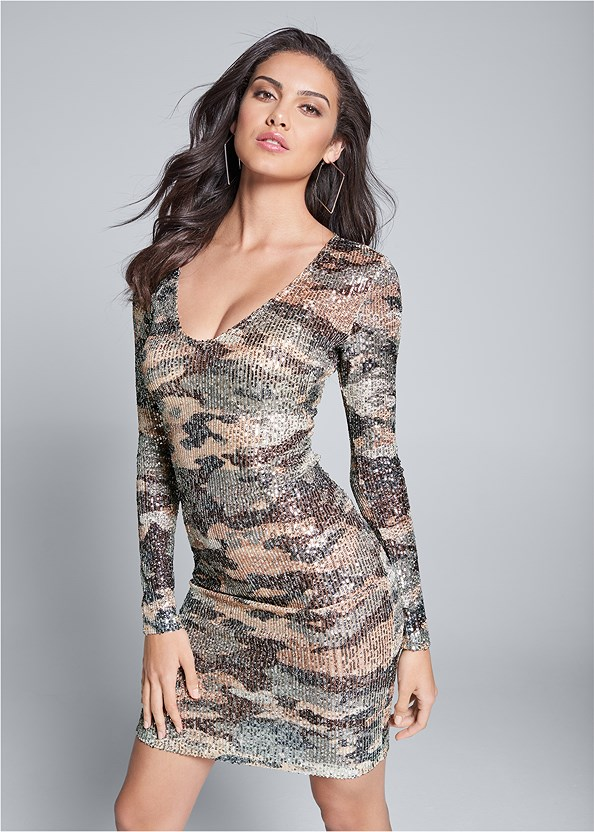 Sequin Camo Dress,Seamless Unlined Bra,Ankle Strap Heels,Peep Toe Booties,Square Hoop Earrings