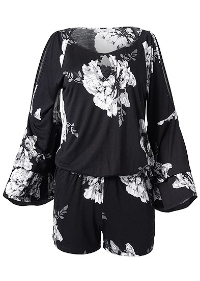 Plus Size Cold Shoulder Floral Romper