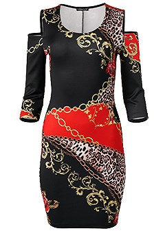 plus size cold shoulder printed dress