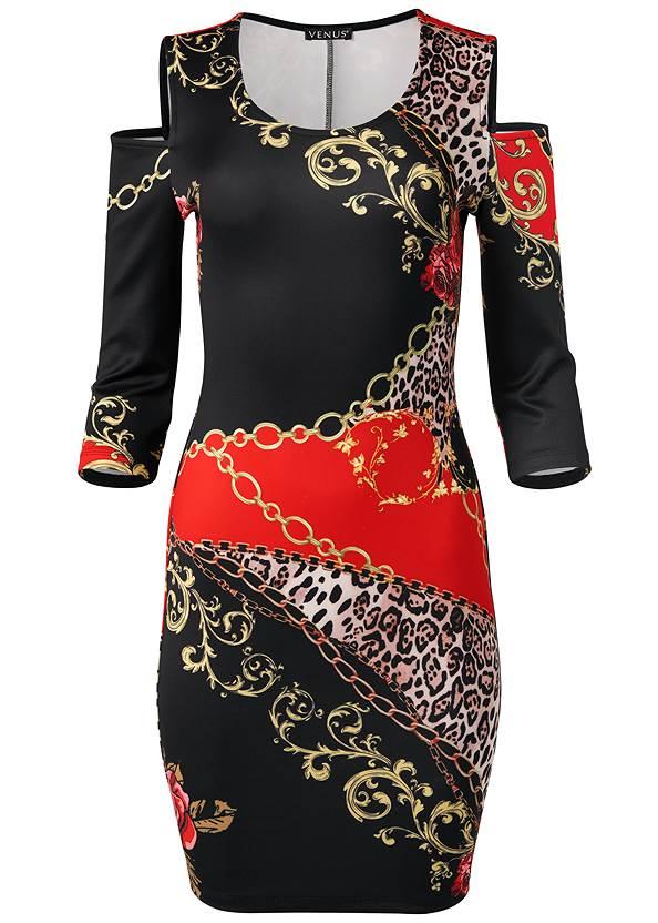 Cold Shoulder Printed Dress,High Heel Strappy Sandals