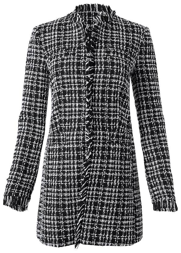 Ghost with background  view Open Front Tweed Fringe Jacket