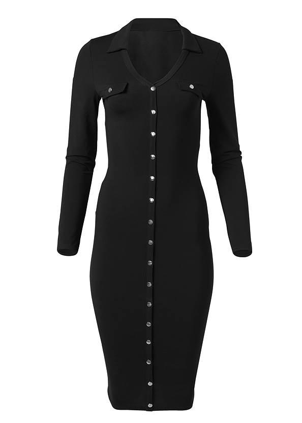 Alternate View Button Detail Midi Dress