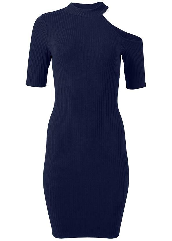 Alternate View One Shoulder Ribbed Dress