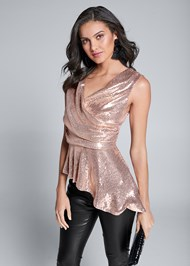 Cropped front view Sequin Peplum Top