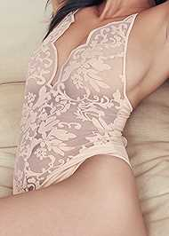 Detail front view Mesh And Lace Bodysuit