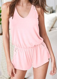 Alternate View Lace Back Sleep Romper