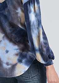 Detail back view Tie Dye Waffle Knit Top