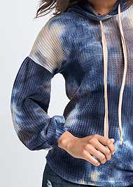 Detail front view Tie Dye Waffle Knit Top