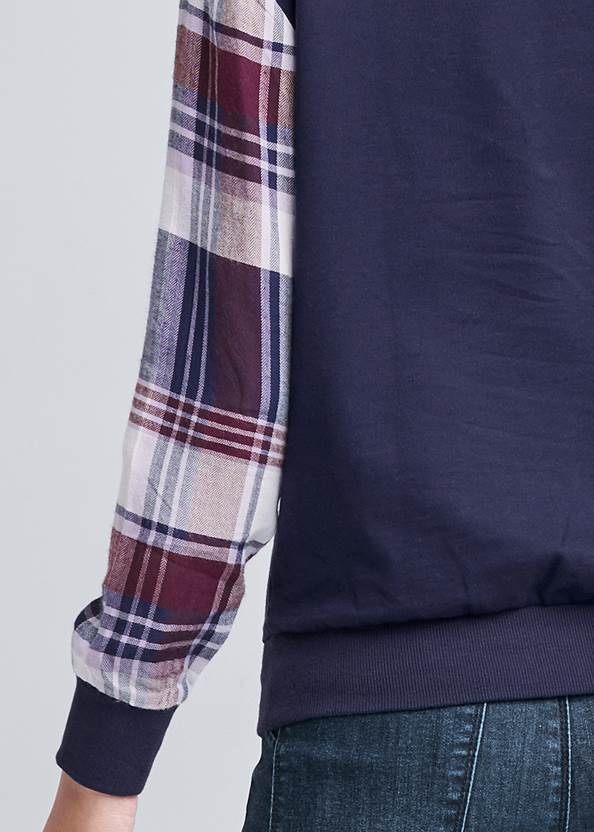 Detail back view Plaid Sleeve Sweatshirt
